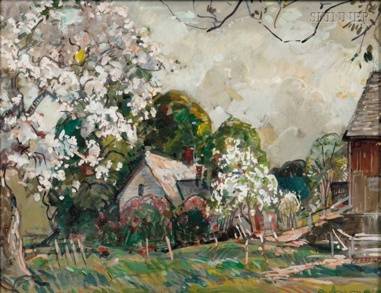 William Lester Stevens (American, 1888-1969)      Spring Blooms on the Farm