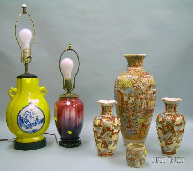 Japanese Satsuma Vase, a Pair of Satsuma Vases, a Jar, and Two Chinese Export Porcelain Vase Table Lamps.e2...