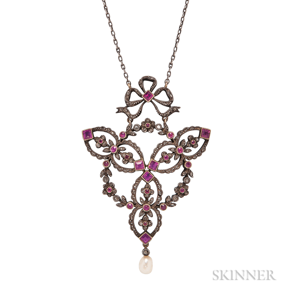 Belle Epoque Ruby and Diamond Pendant