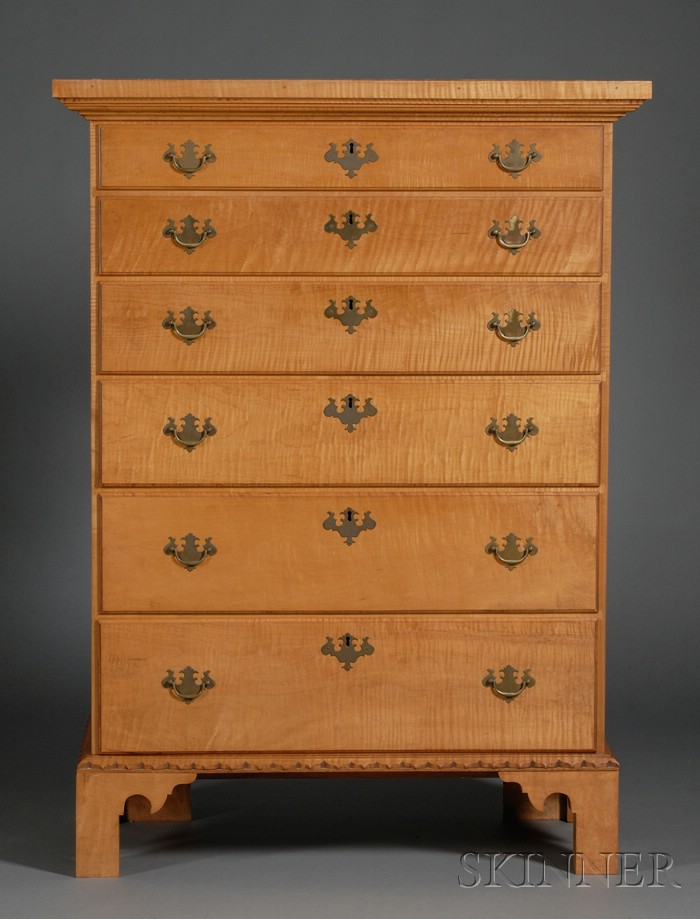 Tiger Maple Tall Chest of Drawers