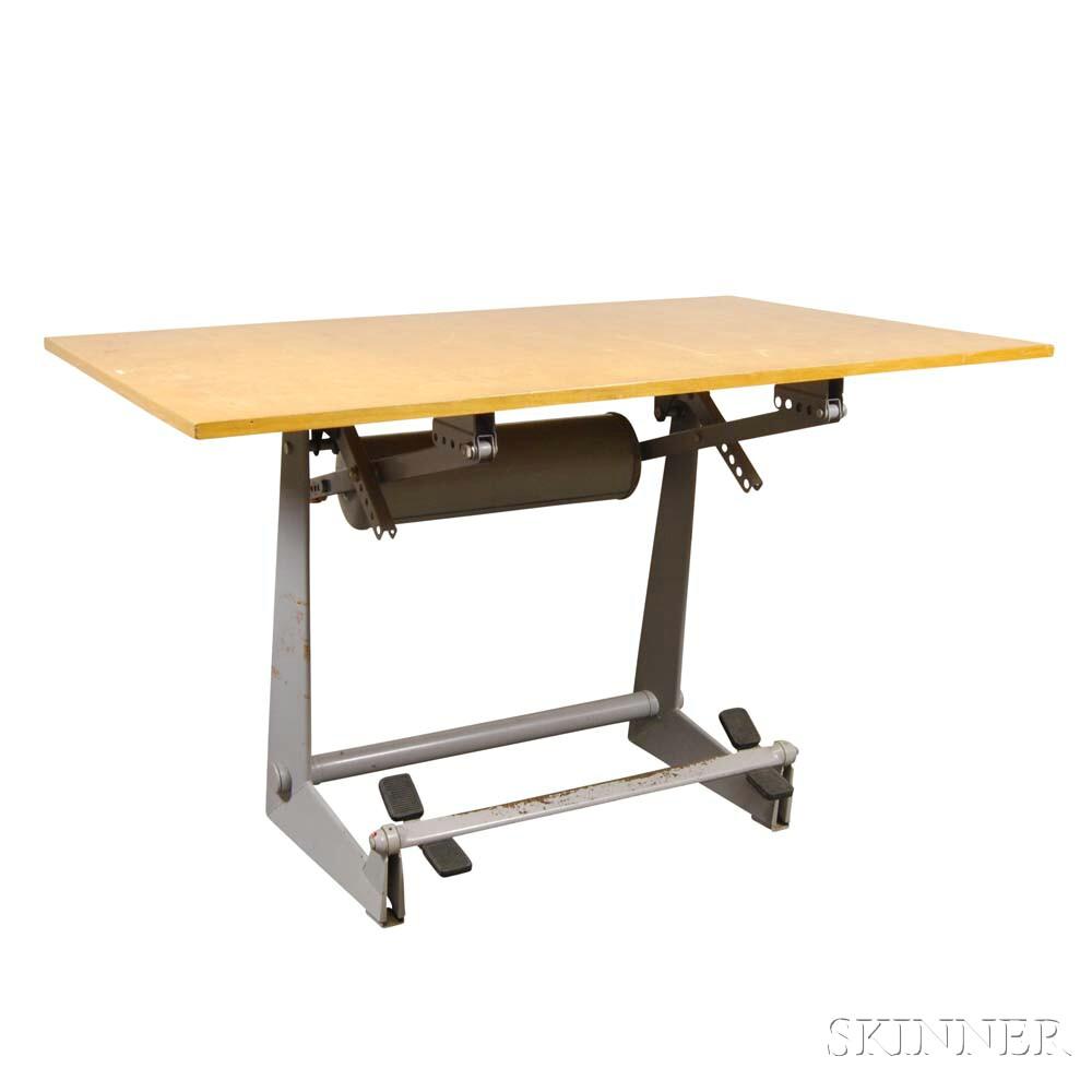 Stendig Oak Veneer Drafting Table
