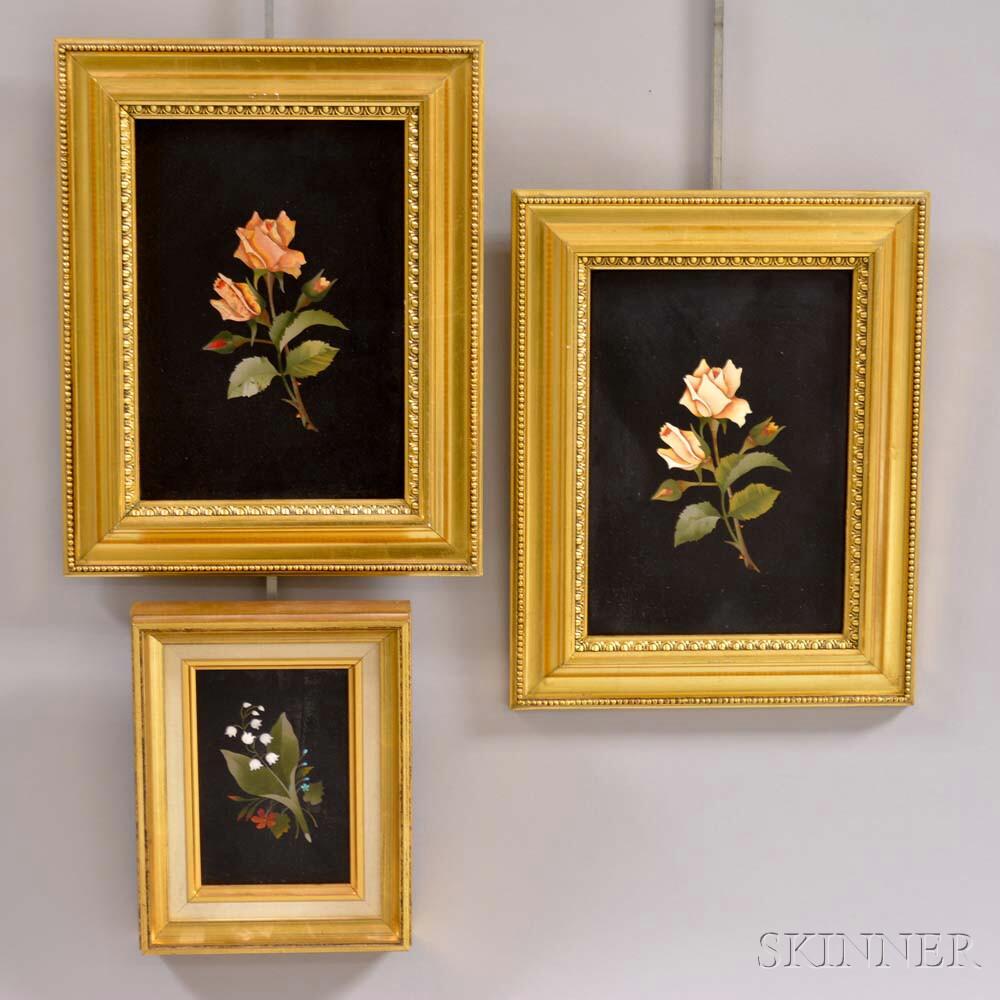 Three Framed Pietra Dura Floral Plaques