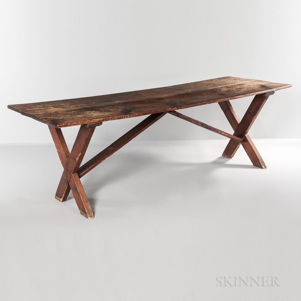 Large Pine and Yellow Pine Sawbuck Table