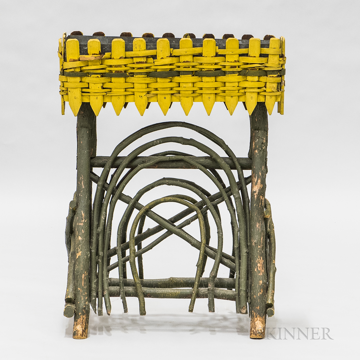 Green- and Yellow-painted Twig and Bentwood Planter