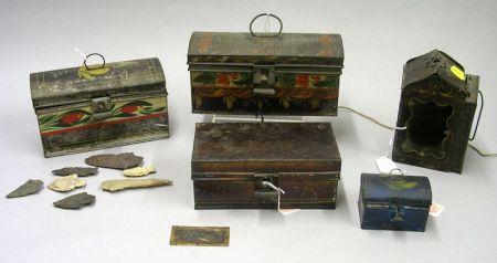 Three Small Decorated Toleware Dome-top Boxes, a Tin Lantern, and a Box