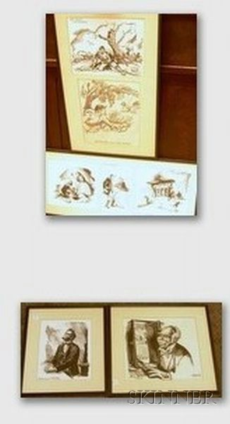 Lot of Seven Framed Mixed Media with Pen and Ink on Paper Civil War   Illustrations Attributed to Don Freeman  (American, 1908-1978)