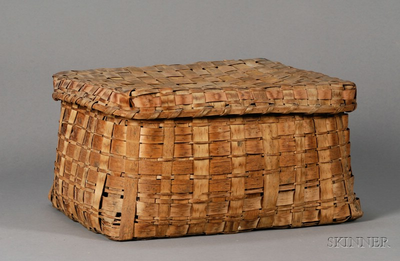 Native American Made Woven Splint Covered Basket