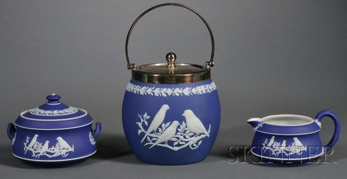 Three Wedgwood Dark Blue Jasper Dip Tea Wares