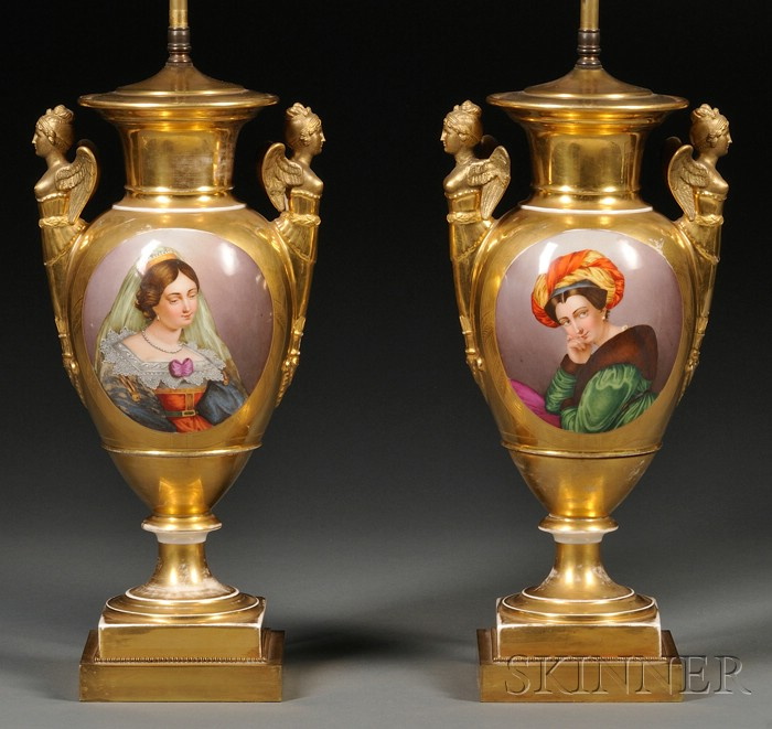 Pair of Paris Porcelain Empire-style Lamp Bases