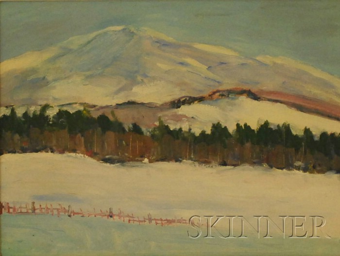 Lot of Three Framed Oil on Board Landscapes, American School, 20th Century      Majestic Mountain, Broad Beach