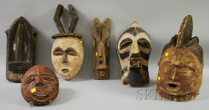 Six African Carved Wooden Masks
