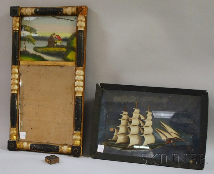 Folk Art Painted Carved Wood Three-masted Sailing Ship Shadow Box and a Gilt and Partial-ebonized Split-baluster Mirror with Reverse...