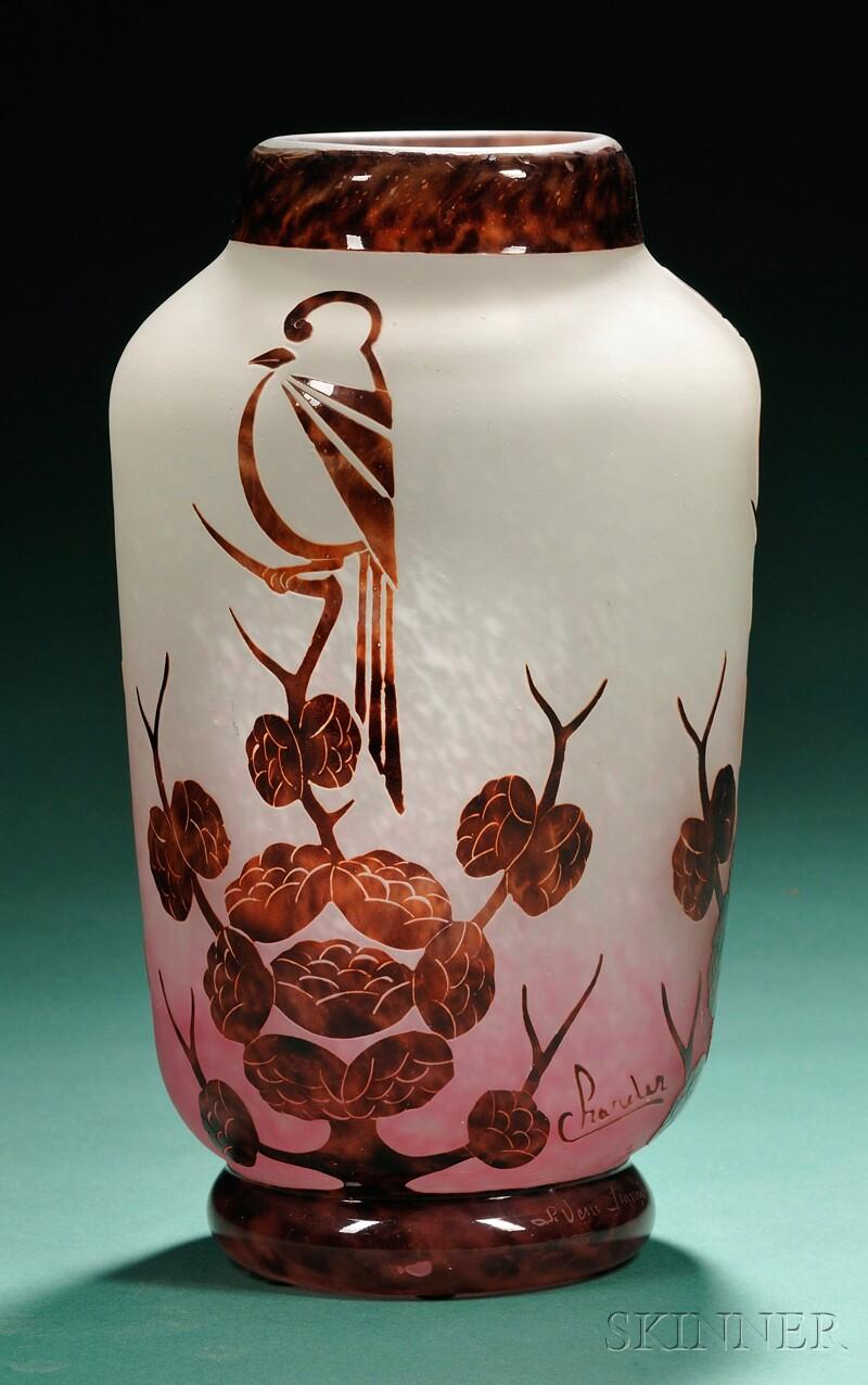 art deco charder le verre francais glass vase sale. Black Bedroom Furniture Sets. Home Design Ideas