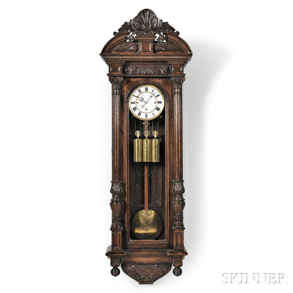 Carved thirty day vienna regulator wall clock sale