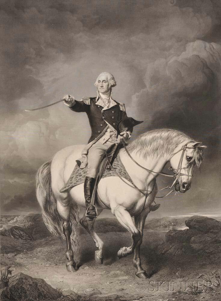 Washington, George (1732-1799) Washington Receiving a Salute on the Field of Trenton.