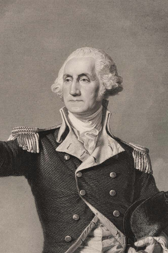 Washington, George (1732-1799) Washington Receiving a Salute on the Field of Trenton.