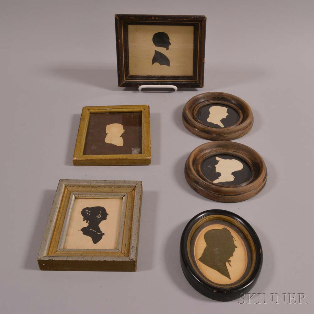 Six Framed Cut and Hollow-cut Silhouettes