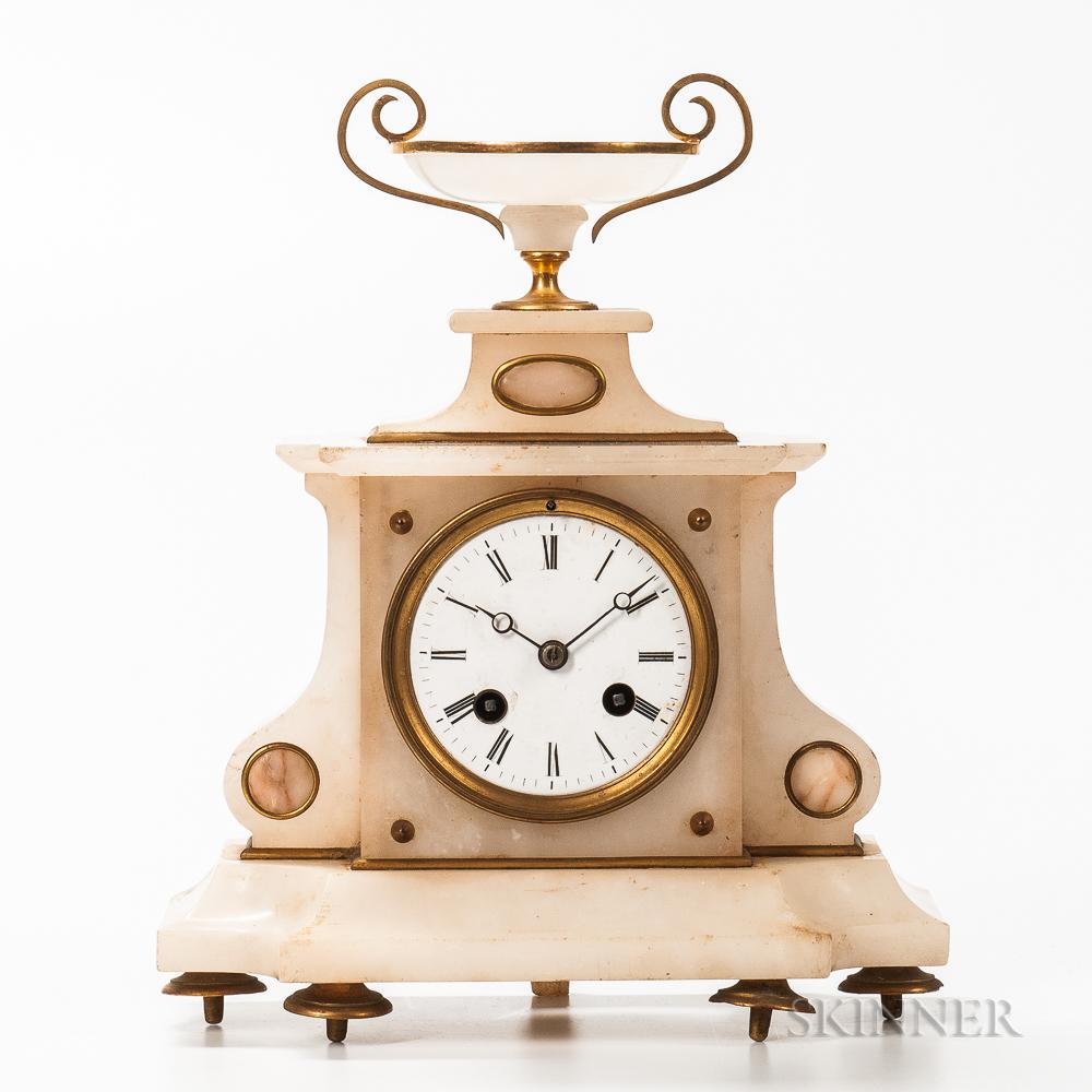 French Alabaster Shelf Clock
