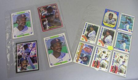 Twelve Jim Rice Autographed Baseball Cards.