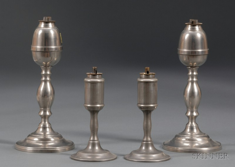 Two Pair of Pewter Whale Oil Lamps