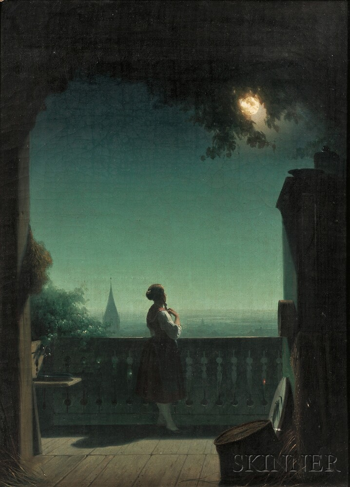 Continental School, 19th Century      Woman in Moonlight on a Balcony