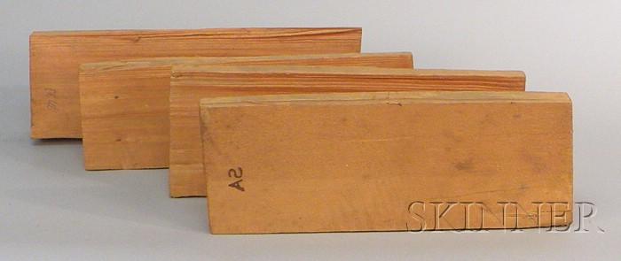Four Split Spruce Violin Tops, c. 1950.