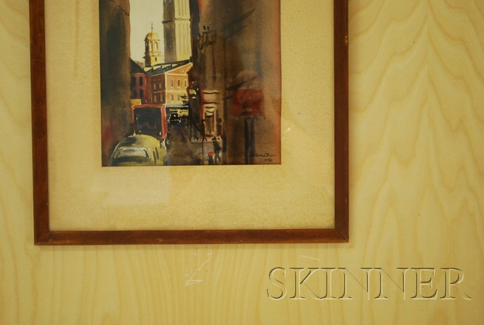 Cathrine Barr (American, 20th Century)      Elm Street, Boston