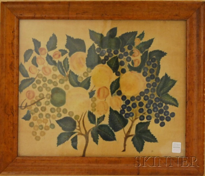 Bird's-eye Maple Veneer Framed Fruit Still Life Theorem