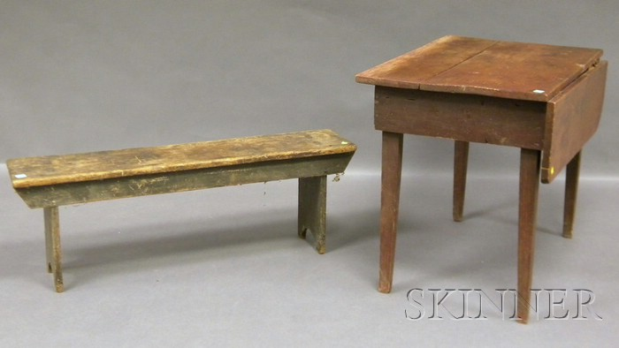 Gray-painted Wood Bucket Bench and Small Pine Table with Single Drop Leaf