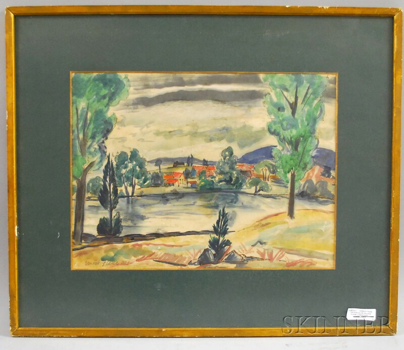 Ernest Fiene (American, 1894-1965)      Landscape with Village.