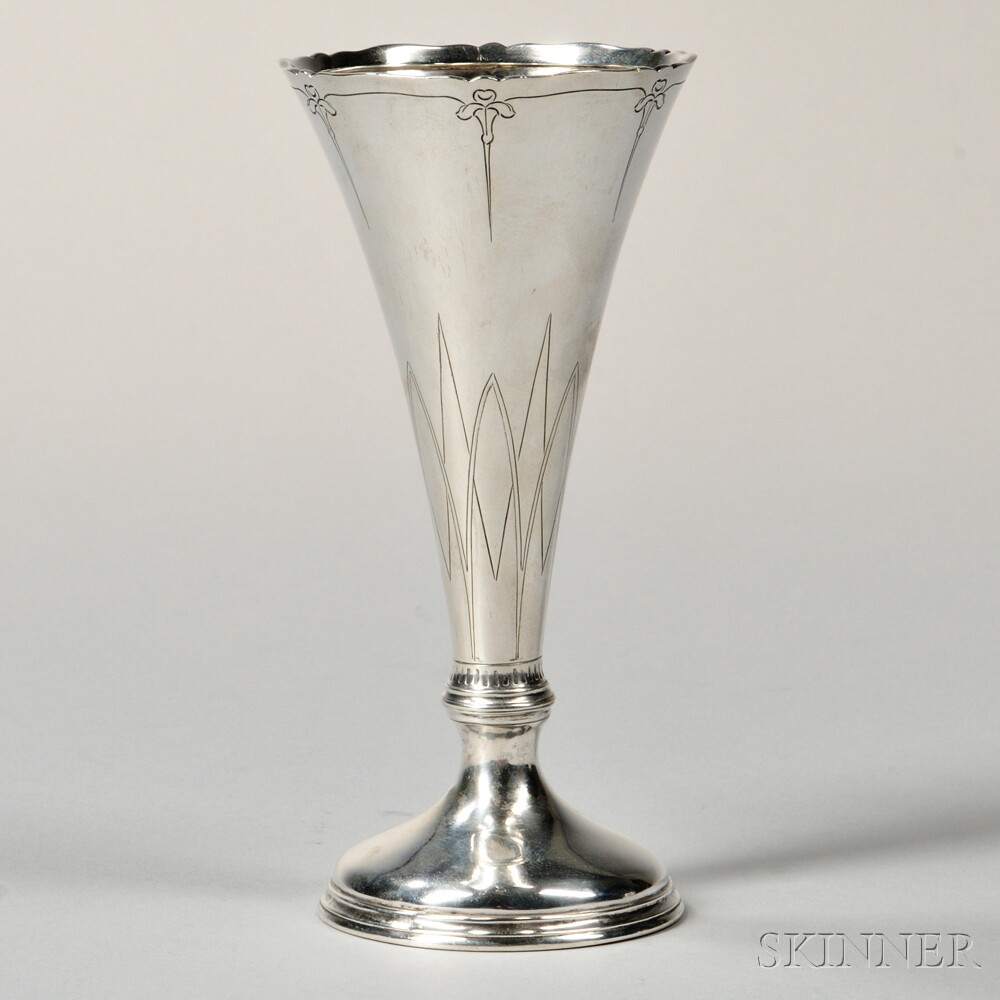 Arthur Stone Arts and Crafts Sterling Silver Vase