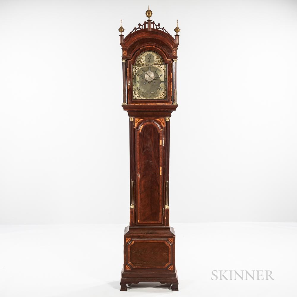 Inlaid Mahogany Ellicott Signed Longcase Clock