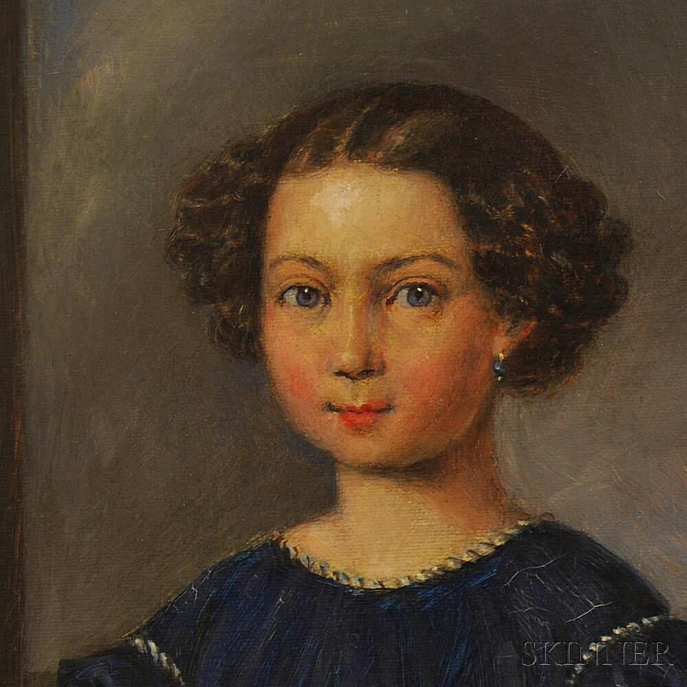 American School, 20th Century       Folk Portrait of a Girl Holding Flowers.