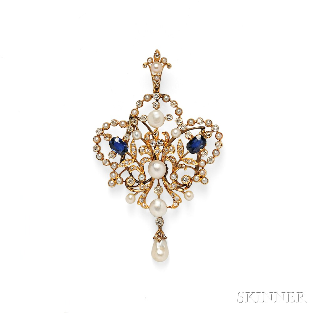 Antique Gold, Pearl, and Diamond Pendant/Brooch
