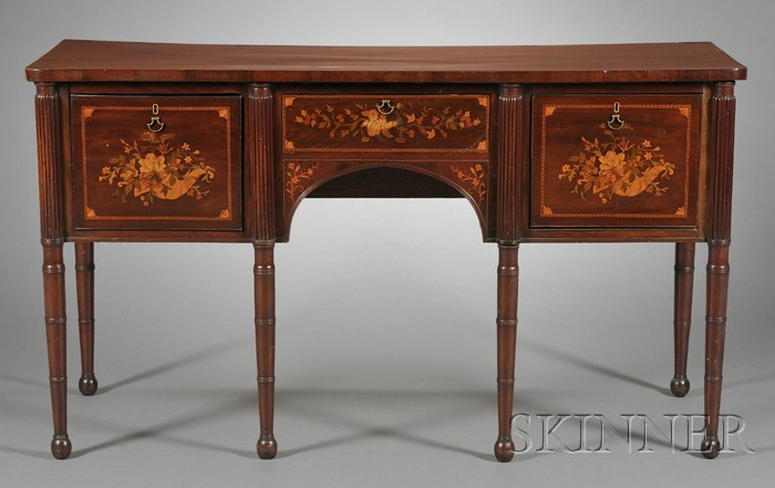 Victorian Fruitwood Marquetry-inlaid Mahogany Sideboard