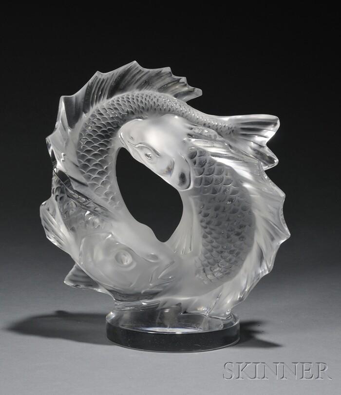 Lalique Double Fish Sculpture