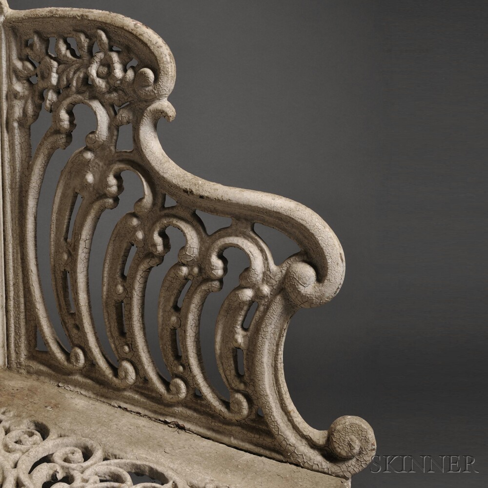 White-painted Rococo-style Cast Iron Garden Settee