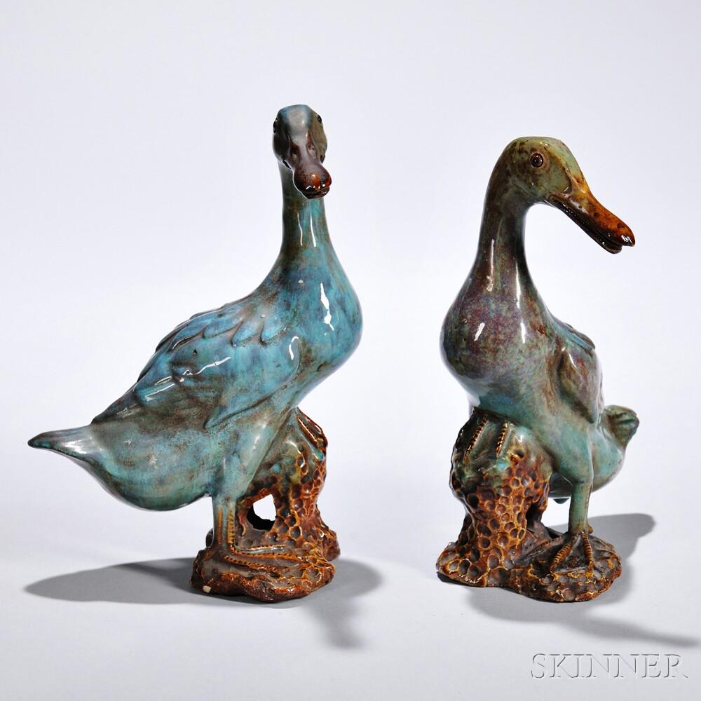 Pair of Glazed Pottery Ducks