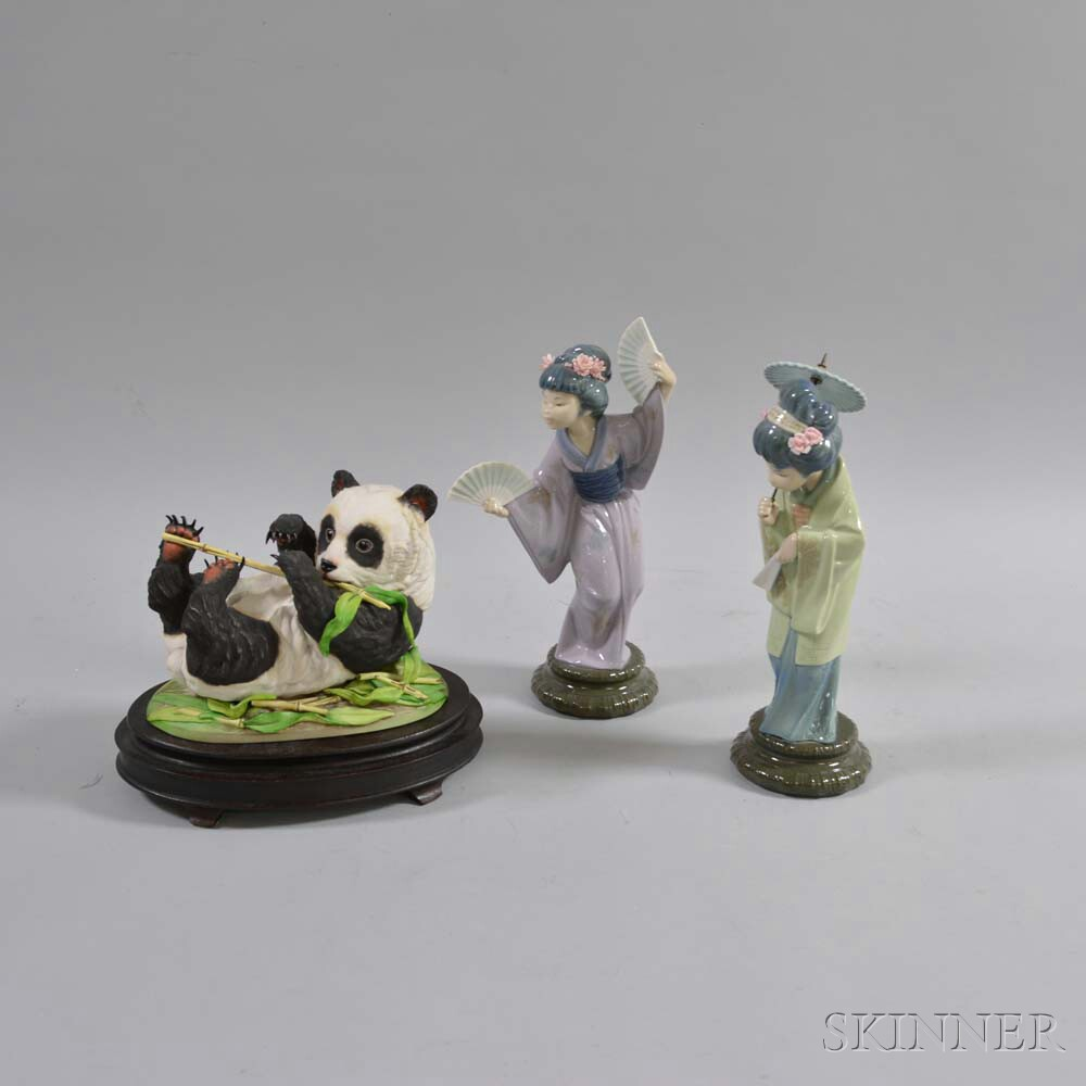 Two Lladro Ceramic Geisha Figures and a Boehm Panda