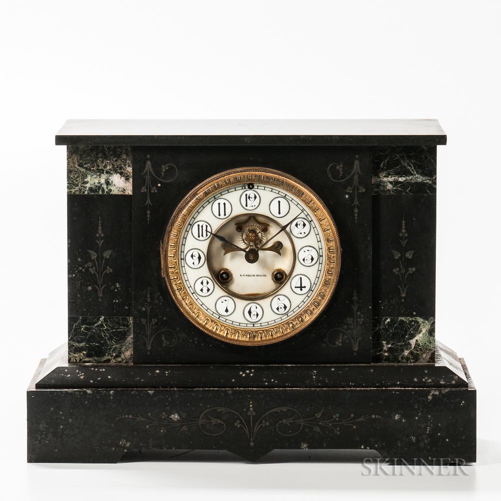 E.N. Welch Co. Black Slate Mantel Clock