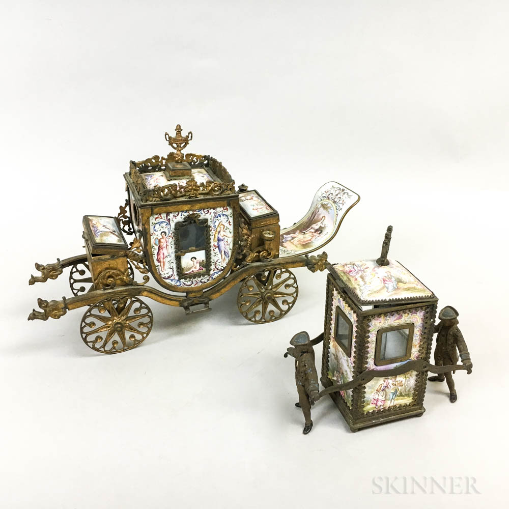 French Enameled Brass Sedan Chair and Carriage-form Cigarette and Match Holder
