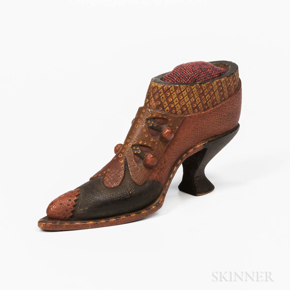 Carved and Painted Shoe Pincushion