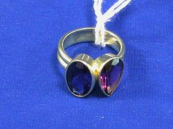 18kt Gold, Amethyst and Iolite Ring.