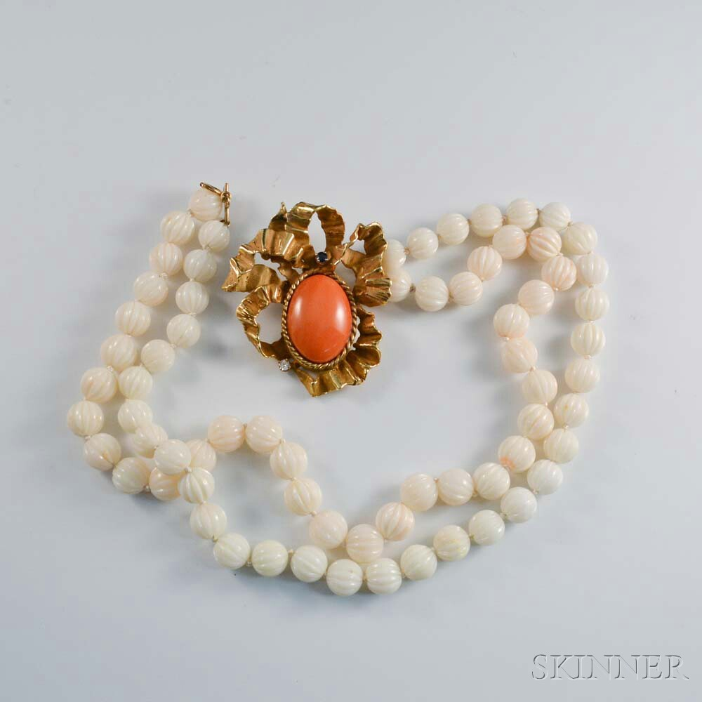 Erwin Pearl 18kt Gold and Coral Pendant