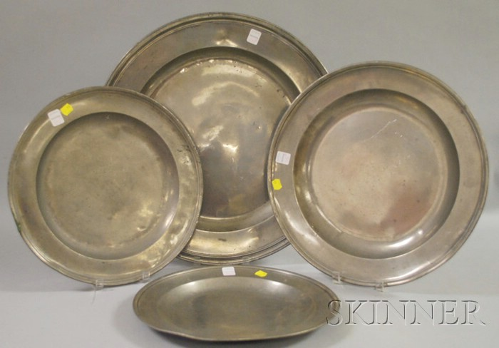 Four Pewter Chargers