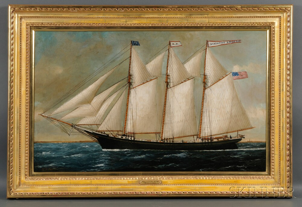 William P. Stubbs (American, 1842-1909)      Portrait of the Three-masted Schooner ALBERTINI ADOUE   with Distant   Lighthouse.