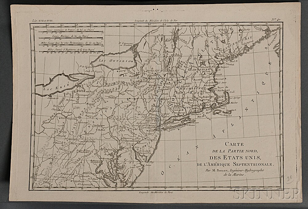 Map Lot, Four Early Maps of New England, Cremona, Languedoc, and Bardowick, Germany.