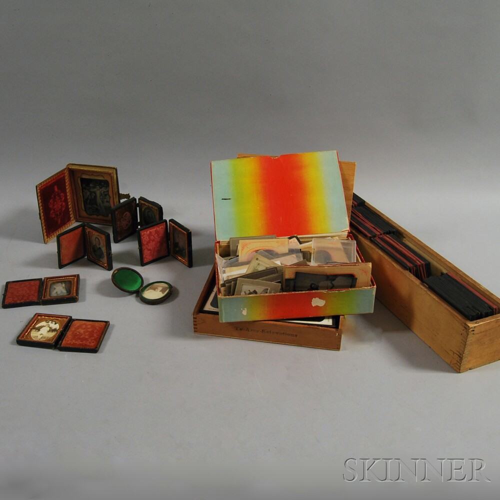 Group of Glass Slides and Carte-de-visites