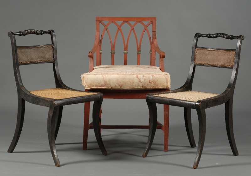 Pair of Regency Ebonized and Caned Side Chairs and a Red Painted Caned Armchair
