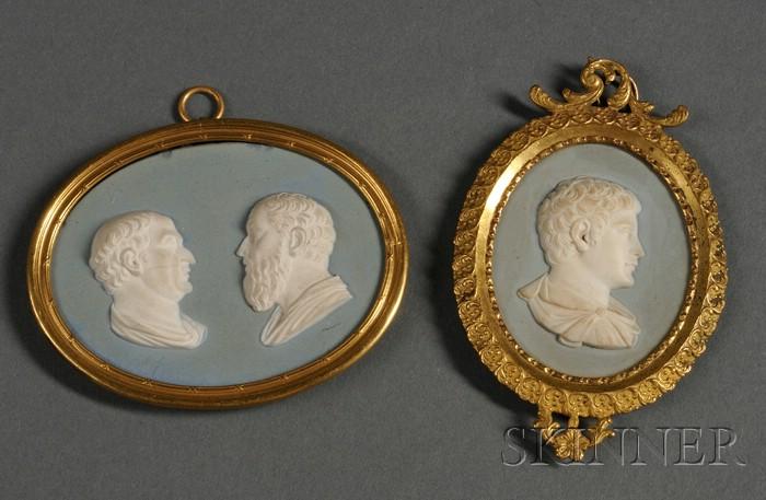 Two Wedgwood & Bentley Pale Blue Jasper Oval Portrait Medallions